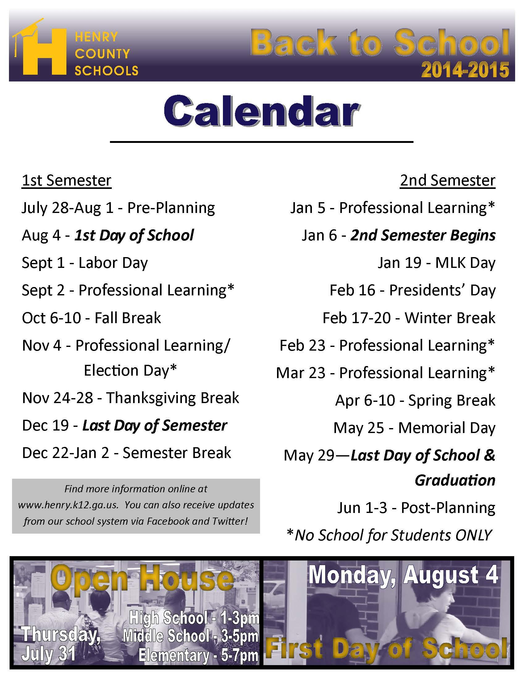 Open House, Back to School, and other calendar information