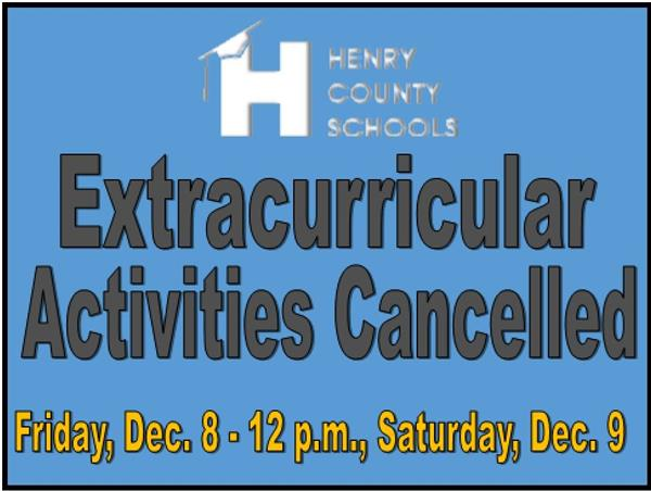 Extracurricular Programs/Activities Cancelled for Friday, Dec. 8