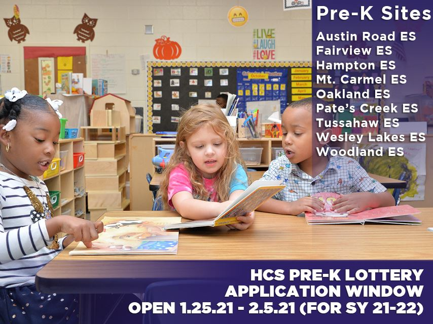 HCS Pre-K Registration Window for '21-'22 School Year Starts January 25