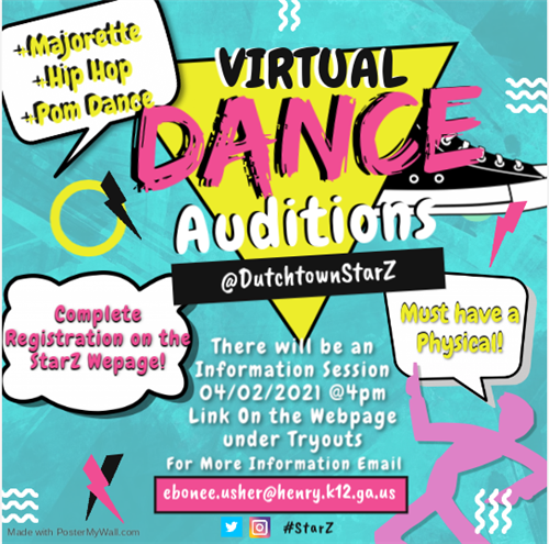 dance auditions, must have physical, meeting on april 2nd