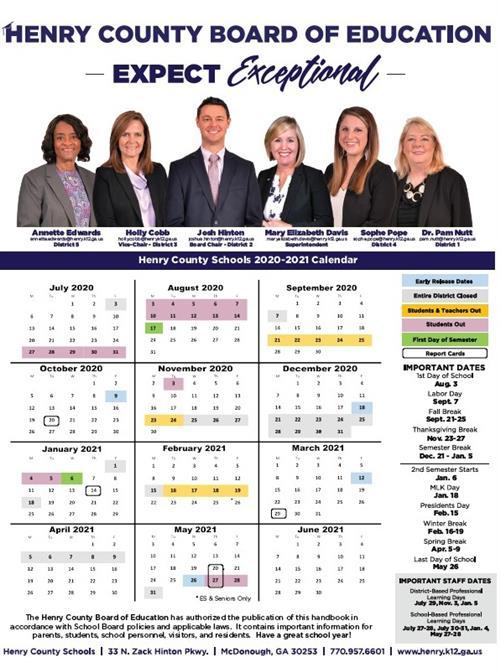 2020 21 Henry County School Calendar / Overview
