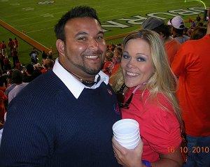 My husband and I at the Auburn vs. Arkansas game! We won. My Alumni Rocks!