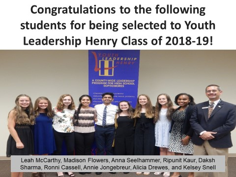 Youth Leadership Henry Class of 2018-19