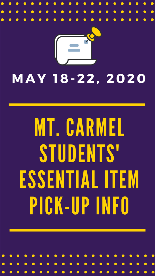 Attention Parents ~ Essential Item Pick-Up Information