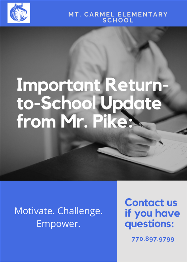Important Update From Mr. Pike:  Return-To-School Information