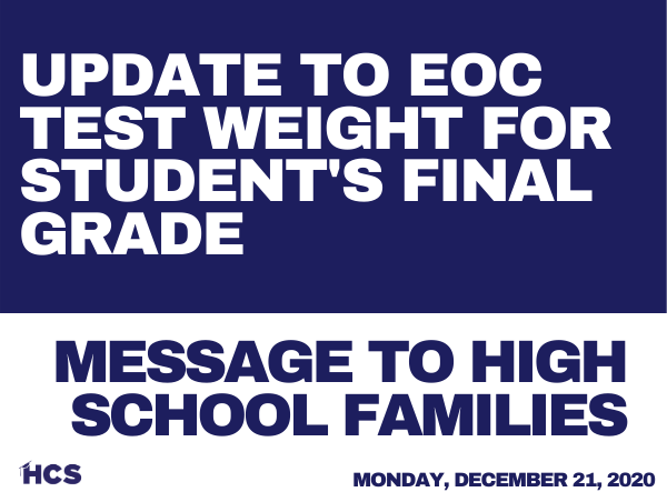 EOC Test Weight Changed for Student's Final Grade
