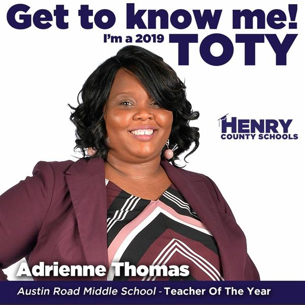 Ms. Adrienne Thomas is ARMS  2020 Teacher of the Year