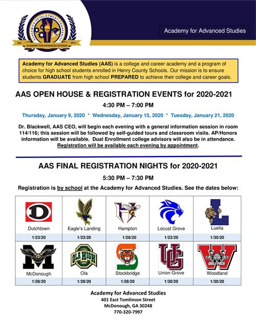 AAS Open House and Registration