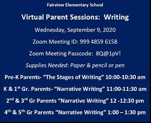 Virtual Parent Workshop: Writing   Wednesday, September 9, 2020