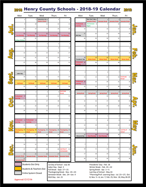 Henry County School Calendar 2019 Parent Information Corner / Calendars