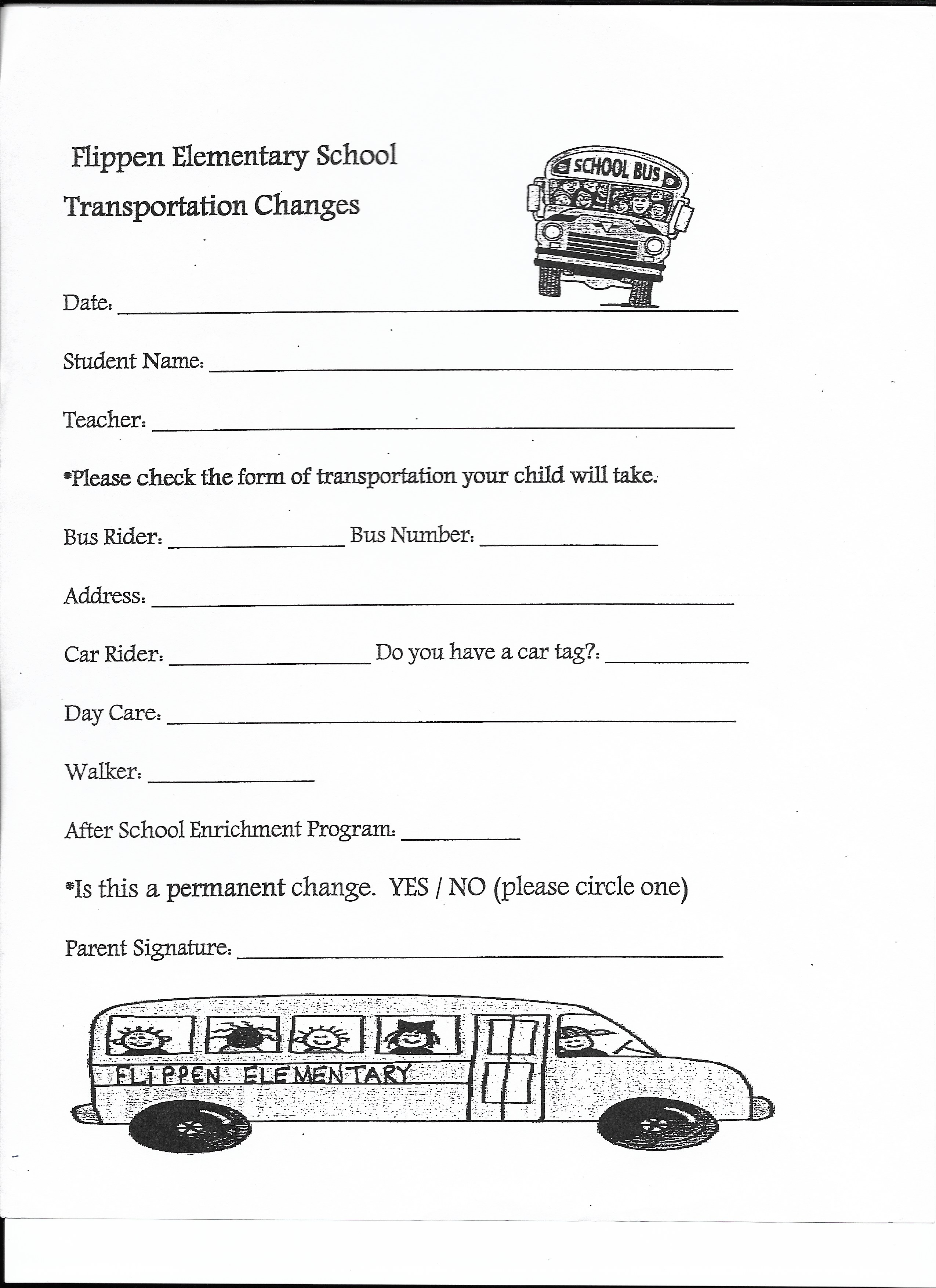 transportation transportation change form