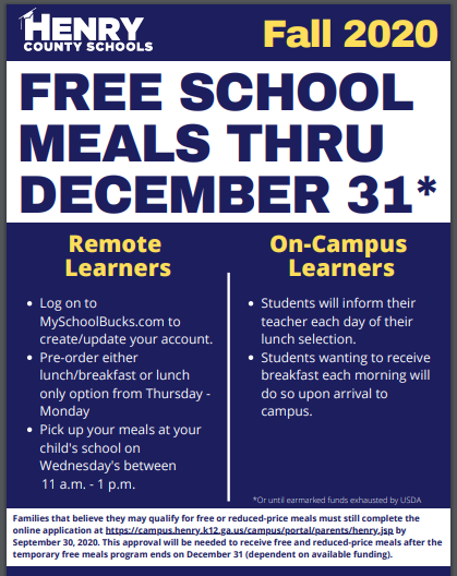 School Meal Fees Waived through December 31, 2020