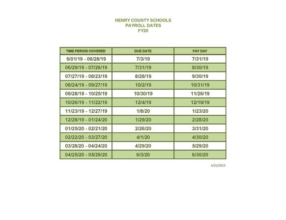 human resource services    payroll dates
