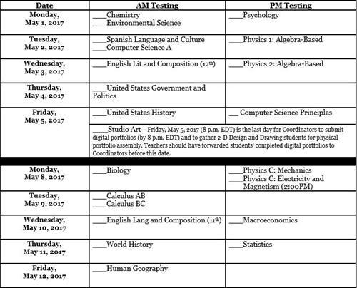 Advanced Placement / AP Exam Registration Information