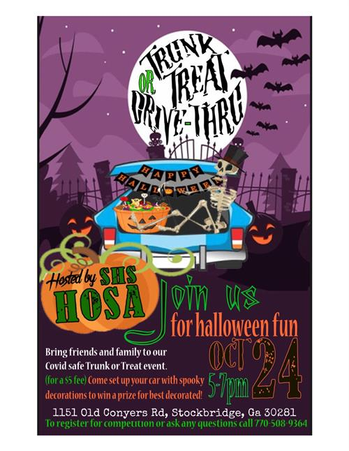 Drive Thru Trick or Trunk Oct. 24, 5p - 7p