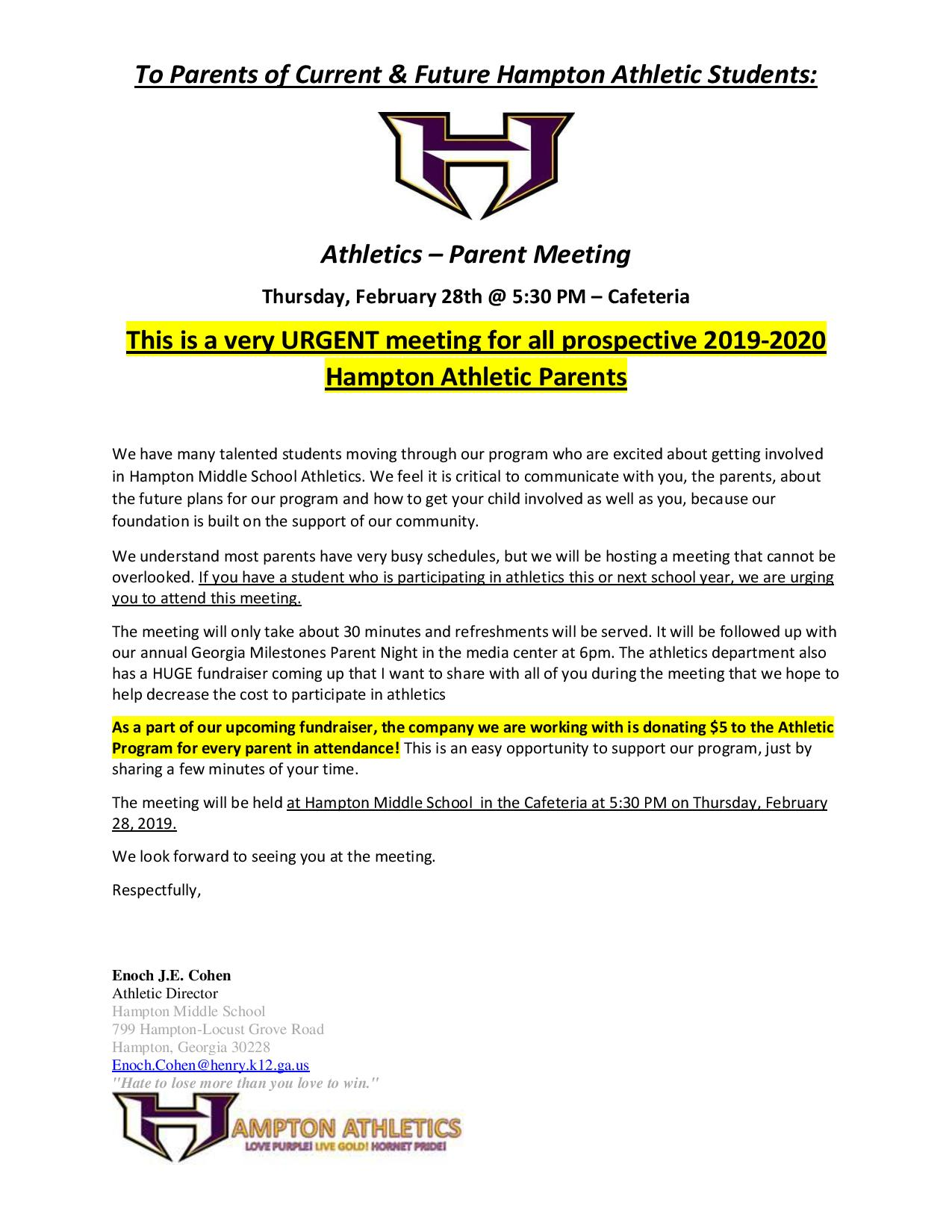 URGENT meeting for all prospective 2019-2020 Hampton Middle Athletic Parents