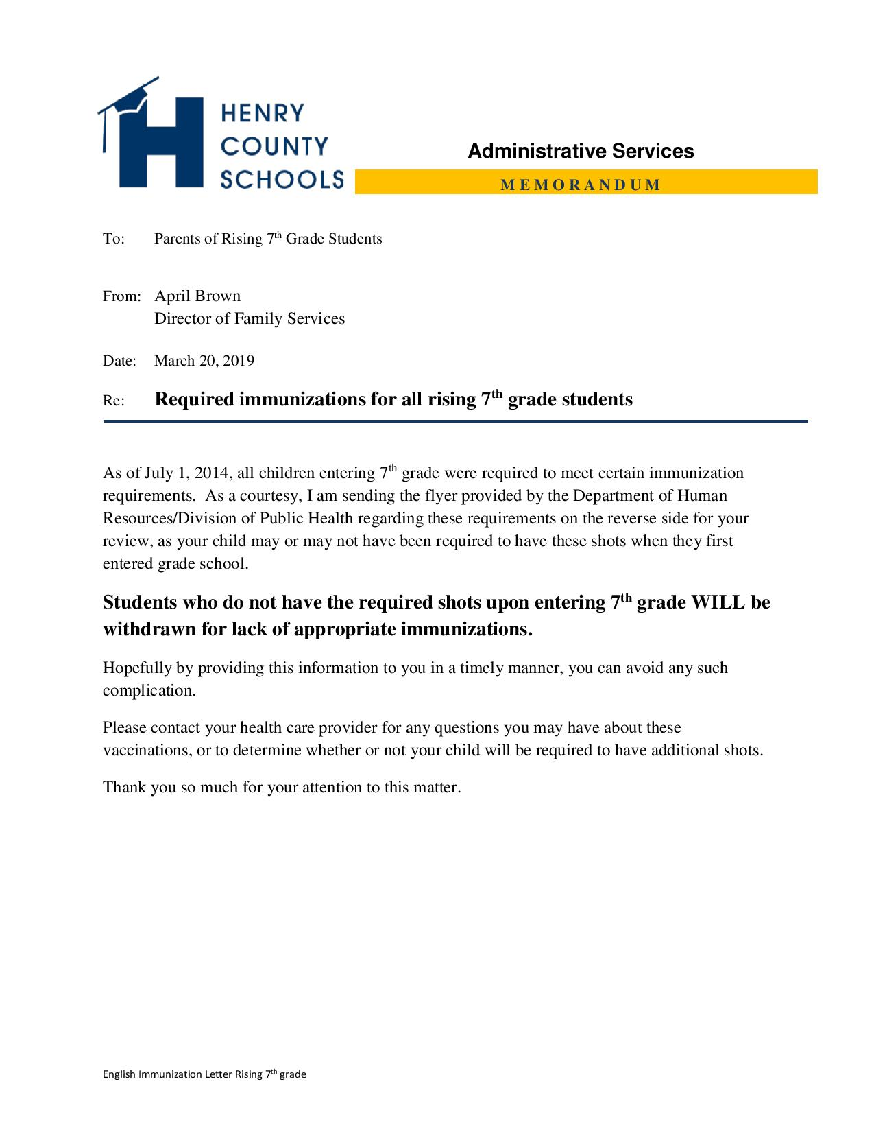 Important Immunization Information for Rising 7th Graders (click for flyer)