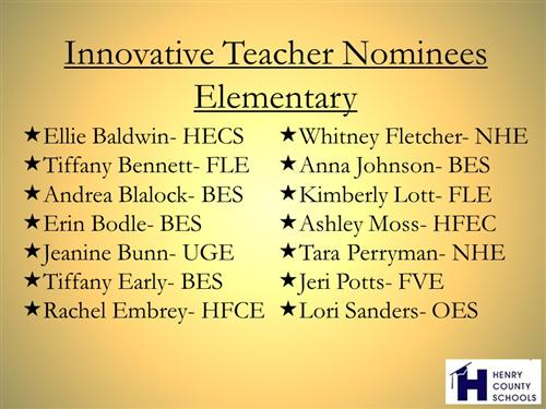 Innovative teacher nominees ES