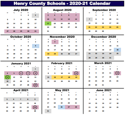 Updated HCS Calendar for the Second Semester of the 2020- 21 School Year