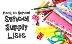 School Supply Lists- Available Now!