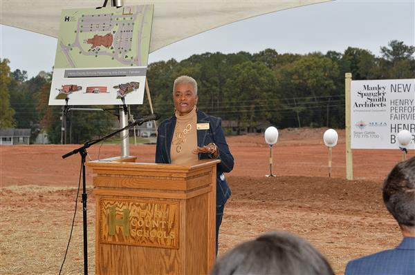 Speaking to the community during the ground breaking for the Performing Arts Center (North)