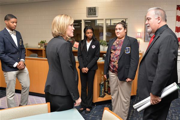 Speaking with State Superintendent Woods and DECA students at Locust Grove High