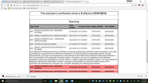 Kindergarten - Cagle, Melissa / Certification