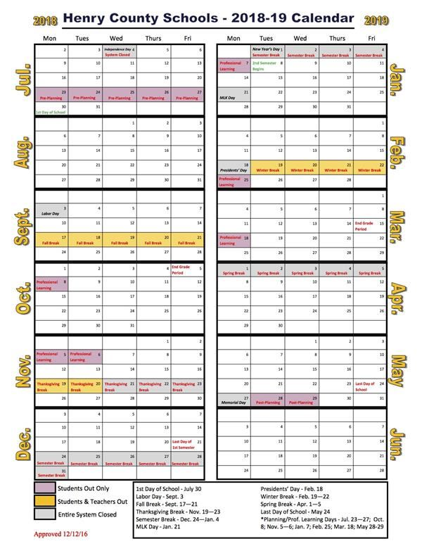 Henry County School Calendar 2019 Bliss, Danielle / School Calendar