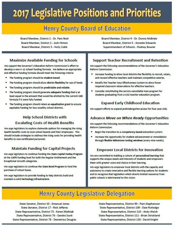 Henry County BOE - 2017 Legislative Positions and Priorities
