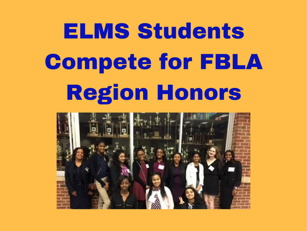 FBLA students posing as a team in front of a trophy case