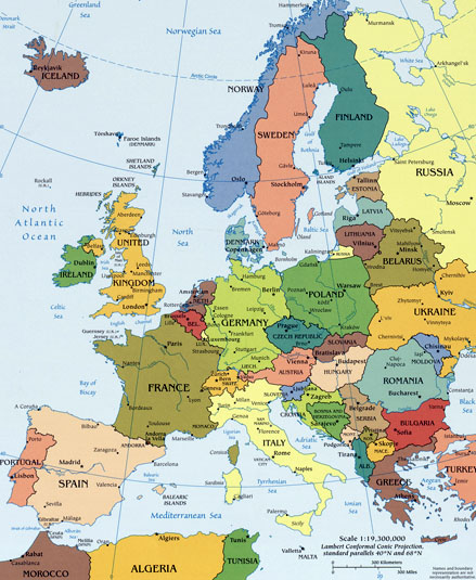 Countries in Europe And Russia Europe Map Countries Labeled