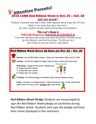 Click here for all Red Ribbon week information, including t-shirts, activities, and more!