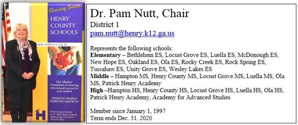 Dr. Pam Nutt, BOE Chair