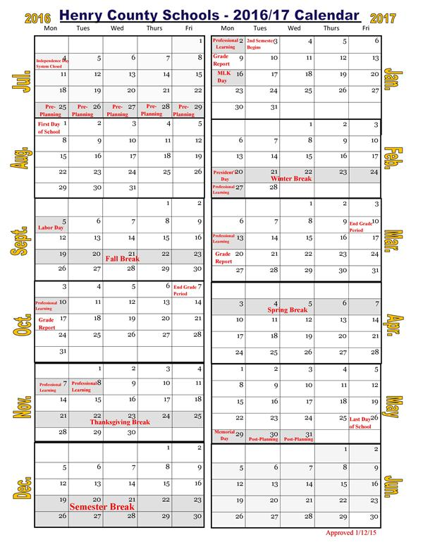 Woodland High School Information School Calendar 2016-17 .